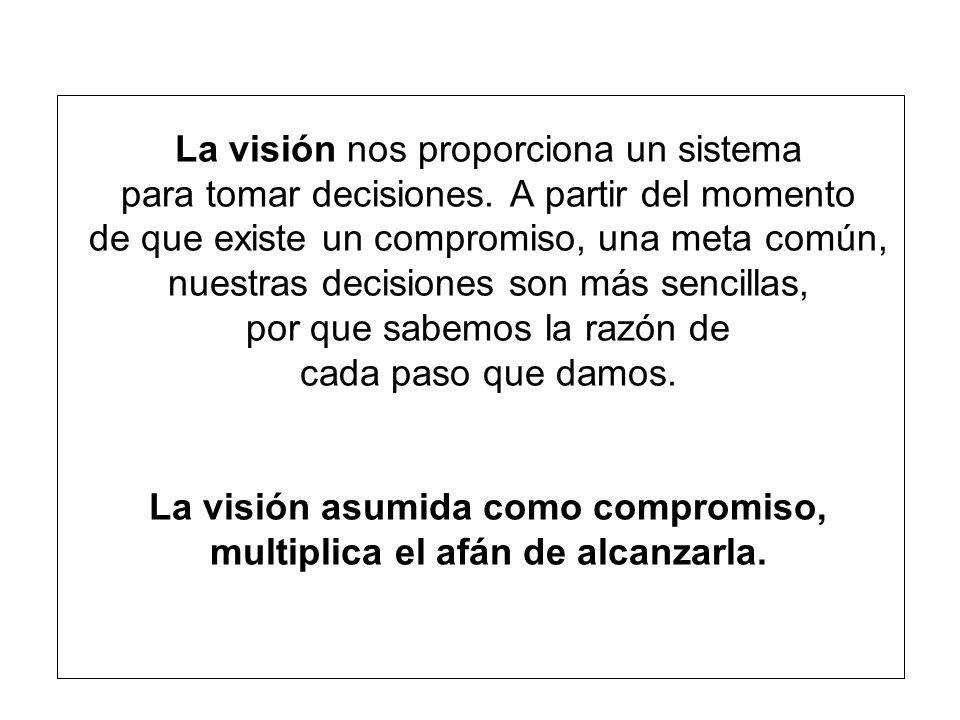 La visión nos proporciona un sistema para tomar decisiones