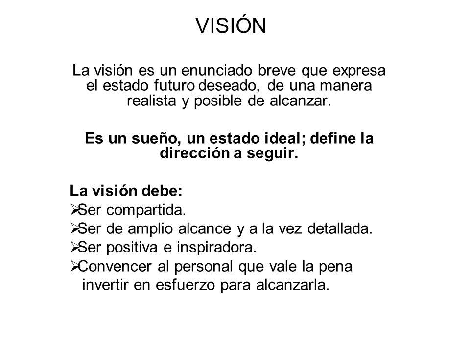 Es un sueño, un estado ideal; define la dirección a seguir.