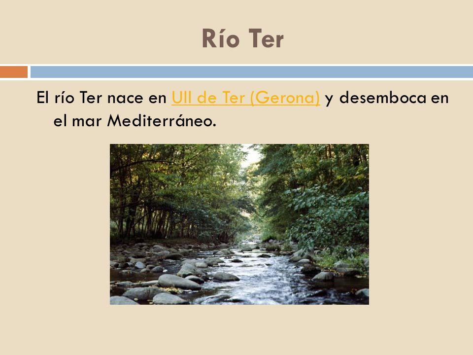 Río Ter El río Ter nace en Ull de Ter (Gerona) y desemboca en el mar Mediterráneo.