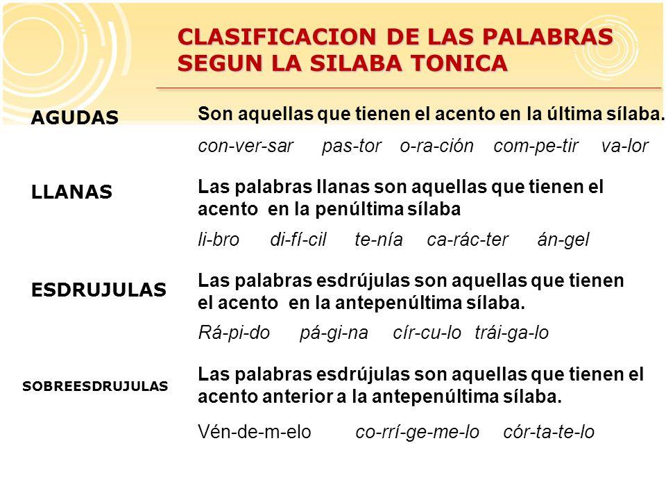 CLASIFICACION DE LAS PALABRAS SEGUN LA SILABA TONICA