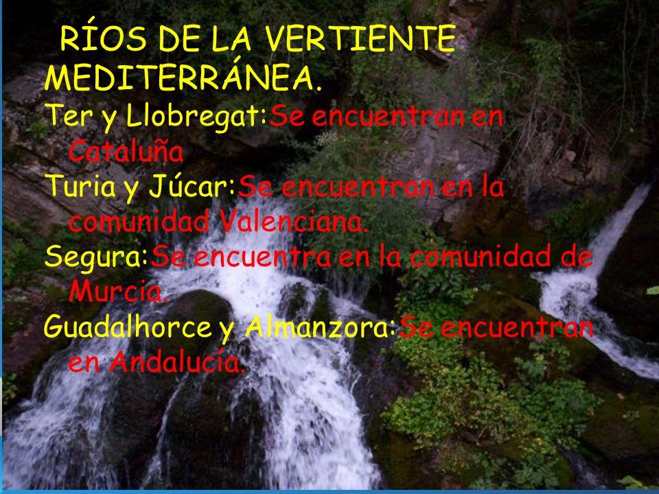 RÍOS DE LA VERTIENTE MEDITERRÁNEA.