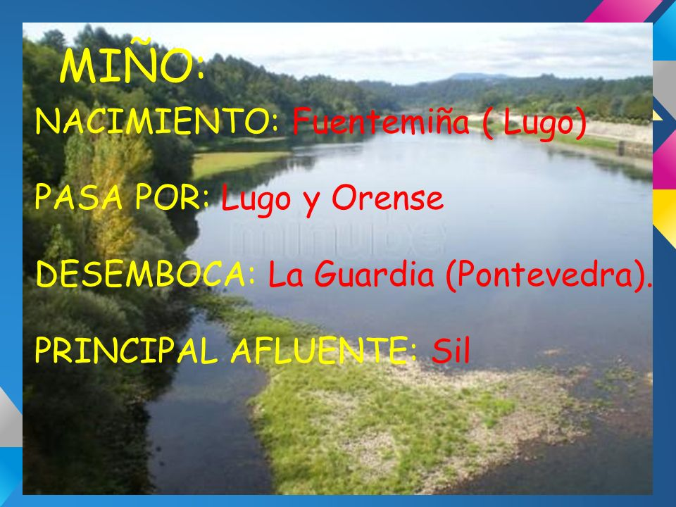 MIÑO: NACIMIENTO: Fuentemiña ( Lugo) PASA POR: Lugo y Orense