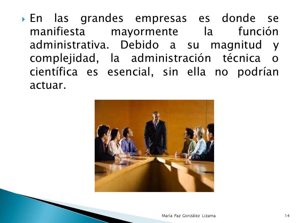 En las grandes empresas es donde se manifiesta mayormente la función administrativa. Debido a su magnitud y complejidad, la administración técnica o científica es esencial, sin ella no podrían actuar.