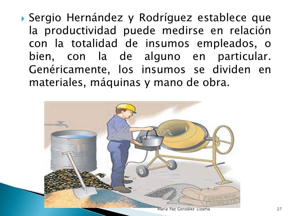 Sergio Hernández y Rodríguez establece que la productividad puede medirse en relación con la totalidad de insumos empleados, o bien, con la de alguno en particular. Genéricamente, los insumos se dividen en materiales, máquinas y mano de obra.