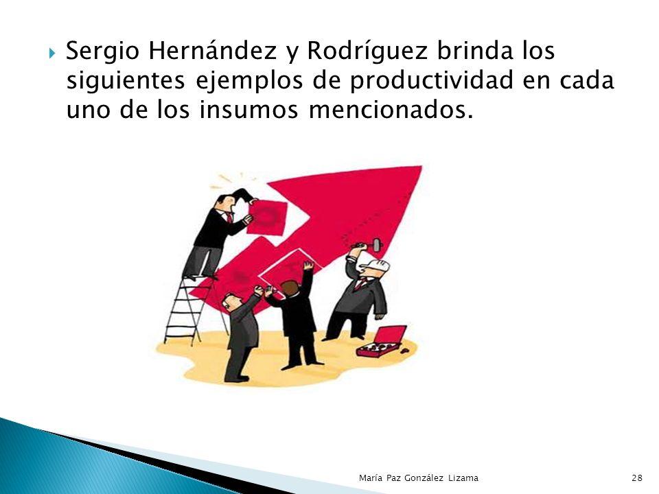 Sergio Hernández y Rodríguez brinda los siguientes ejemplos de productividad en cada uno de los insumos mencionados.
