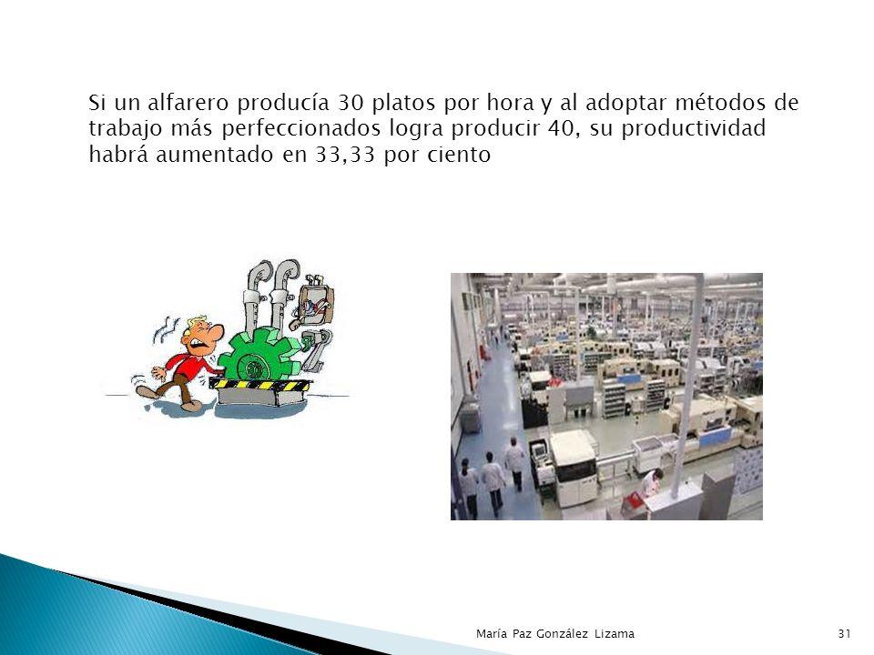 Si un alfarero producía 30 platos por hora y al adoptar métodos de trabajo más perfeccionados logra producir 40, su productividad habrá aumentado en 33,33 por ciento