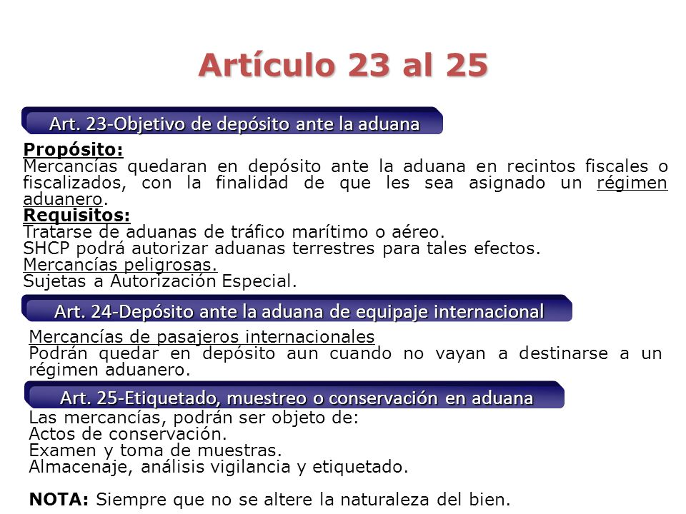 Artículo 23 al 25 Art. 23-Objetivo de depósito ante la aduana