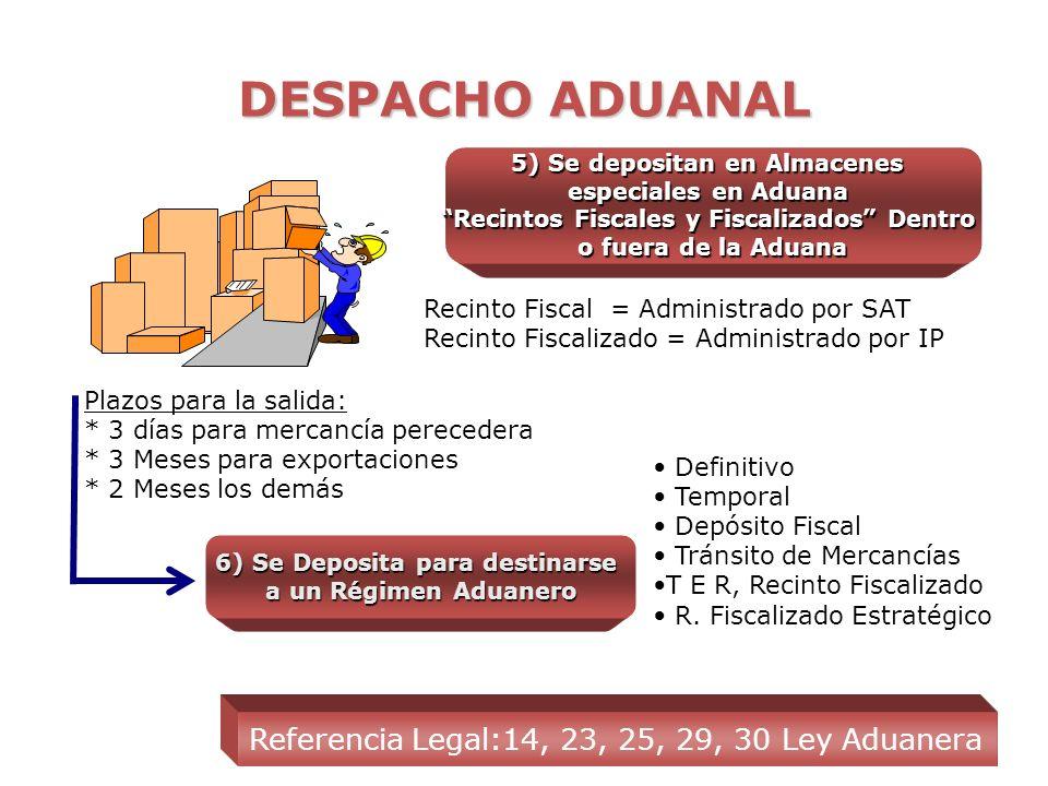 5) Se depositan en Almacenes Recintos Fiscales y Fiscalizados Dentro