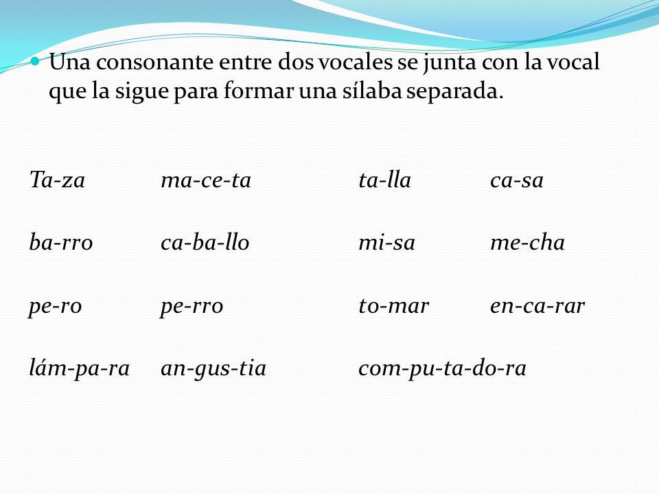 Una consonante entre dos vocales se junta con la vocal que la sigue para formar una sílaba separada.
