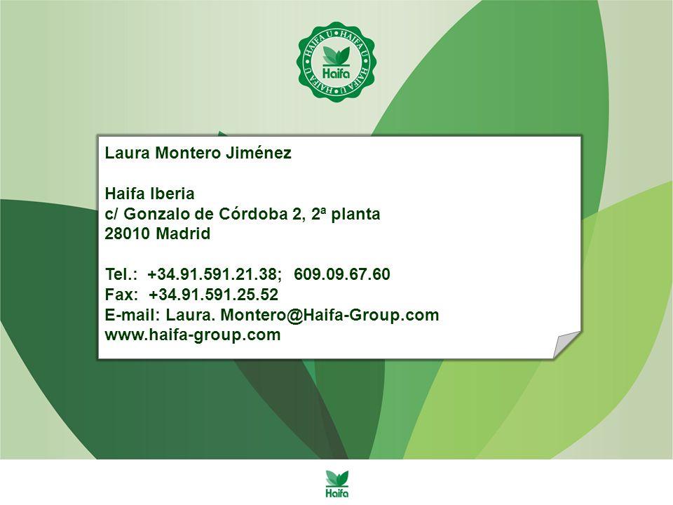 Laura Montero Jiménez Haifa Iberia. c/ Gonzalo de Córdoba 2, 2ª planta. 28010 Madrid. Tel.: +34.91.591.21.38; 609.09.67.60.