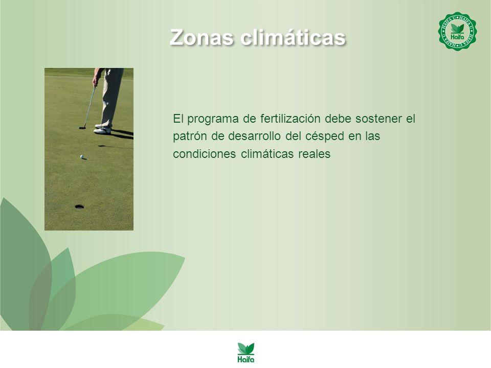 Zonas climáticas El programa de fertilización debe sostener el patrón de desarrollo del césped en las condiciones climáticas reales.