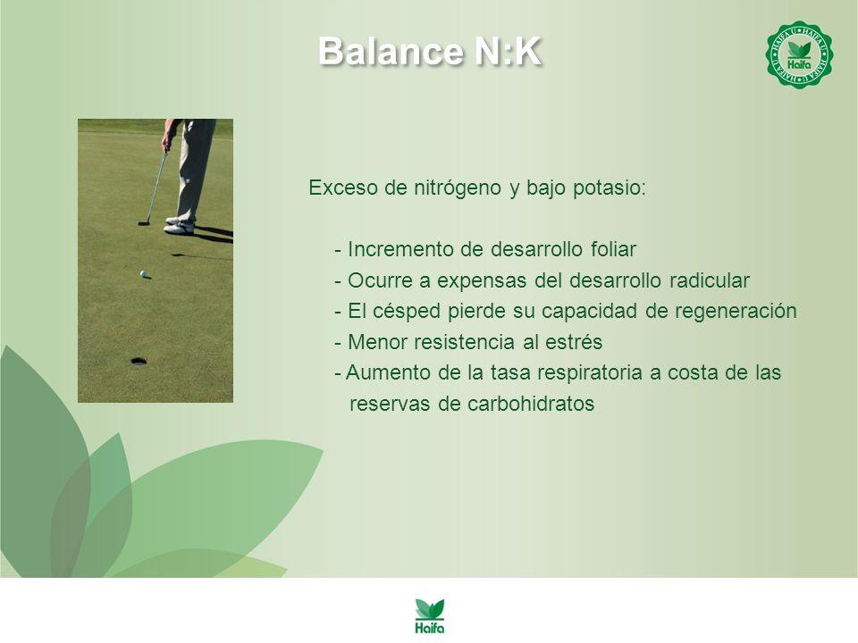 Balance N:K Exceso de nitrógeno y bajo potasio: