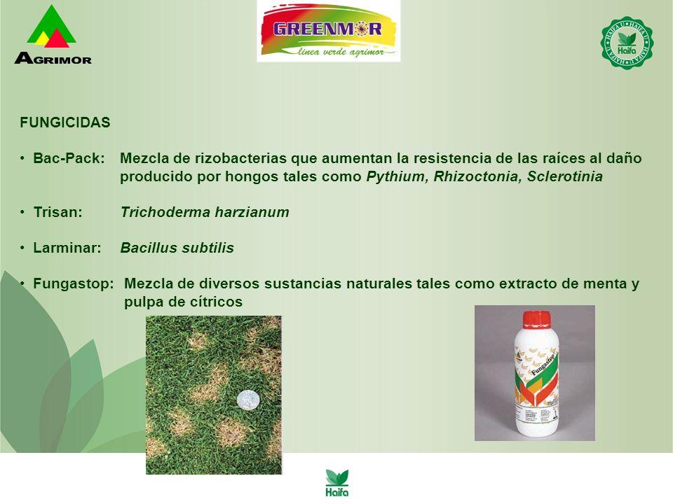 FUNGICIDAS Bac-Pack: Mezcla de rizobacterias que aumentan la resistencia de las raíces al daño.