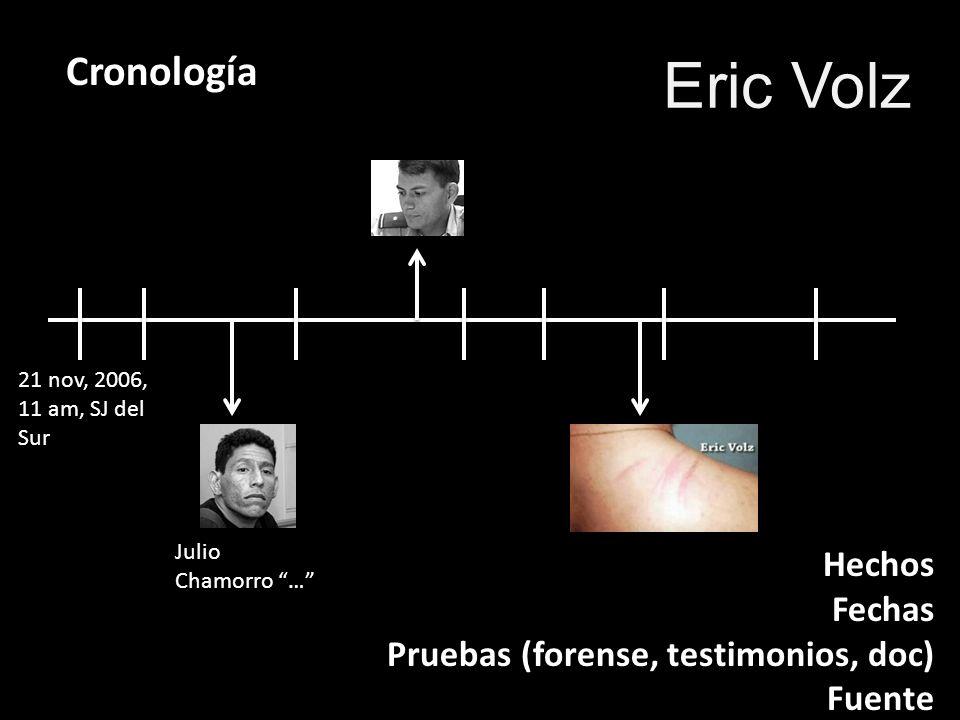 Eric Volz Cronología Hechos Fechas Pruebas (forense, testimonios, doc)