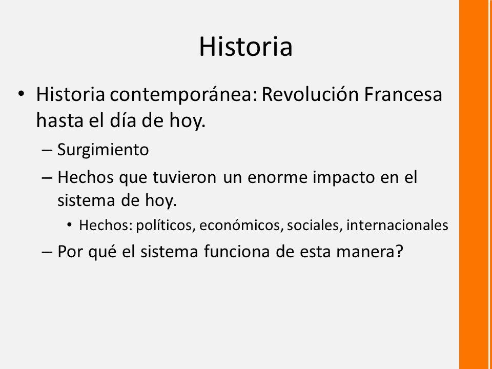 Historia Historia contemporánea: Revolución Francesa hasta el día de hoy. Surgimiento. Hechos que tuvieron un enorme impacto en el sistema de hoy.