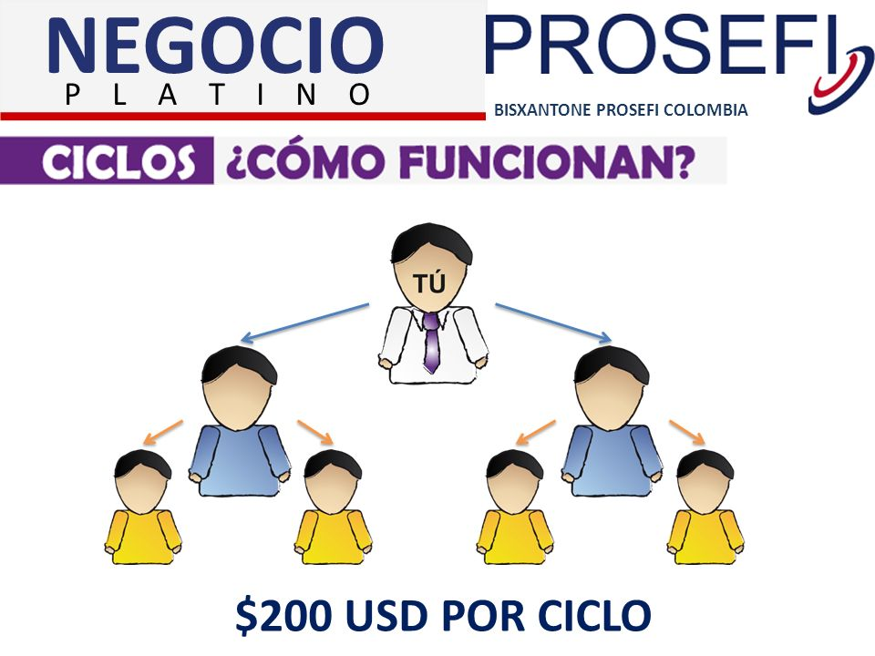 NEGOCIO P L A T I N O BISXANTONE PROSEFI COLOMBIA $200 USD POR CICLO
