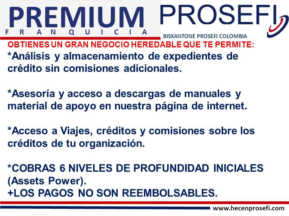 PREMIUM F R A N Q U I C I A. BISXANTONE PROSEFI COLOMBIA.
