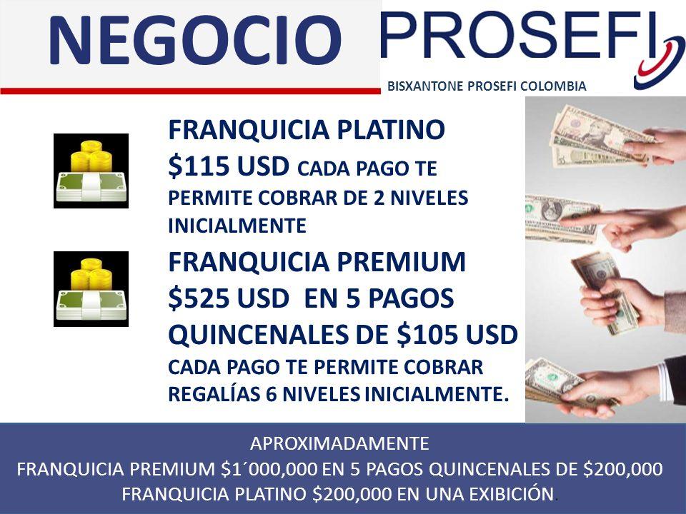 NEGOCIO BISXANTONE PROSEFI COLOMBIA. FRANQUICIA PLATINO $115 USD CADA PAGO TE PERMITE COBRAR DE 2 NIVELES INICIALMENTE.