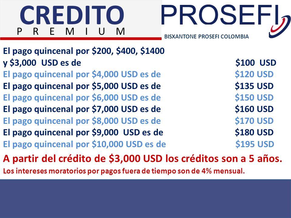 CREDITO P R E M I U M. BISXANTONE PROSEFI COLOMBIA. El pago quincenal por $200, $400, $1400.