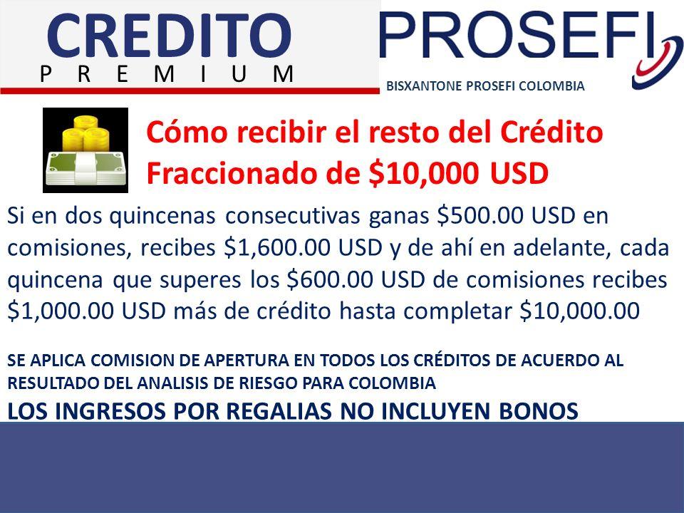 CREDITO Cómo recibir el resto del Crédito Fraccionado de $10,000 USD