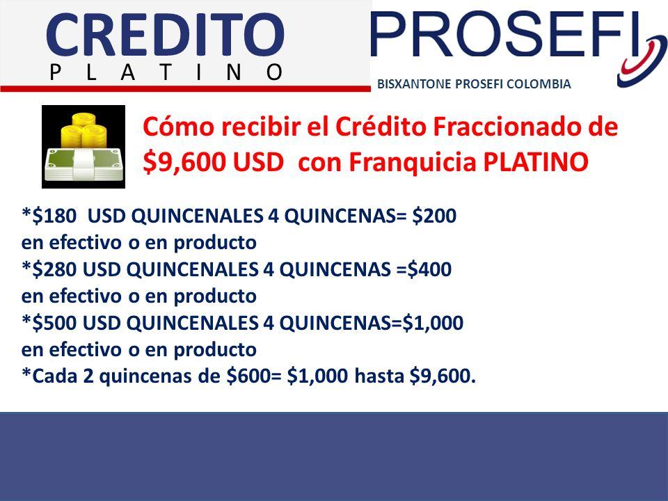 CREDITO P L A T I N O. BISXANTONE PROSEFI COLOMBIA. Cómo recibir el Crédito Fraccionado de $9,600 USD con Franquicia PLATINO.