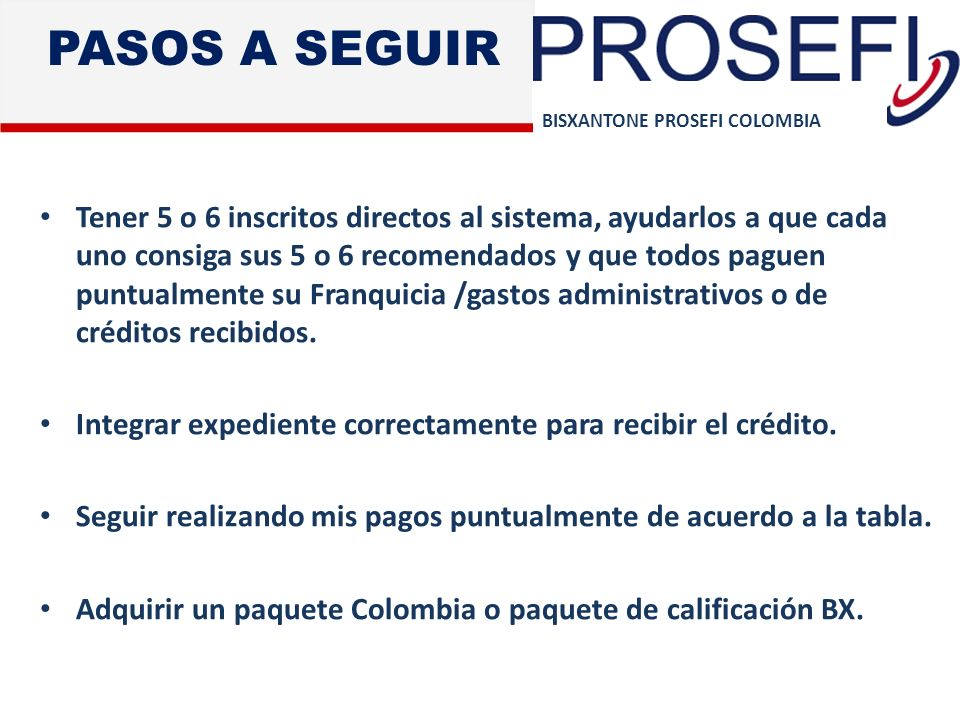 PASOS A SEGUIR BISXANTONE PROSEFI COLOMBIA.