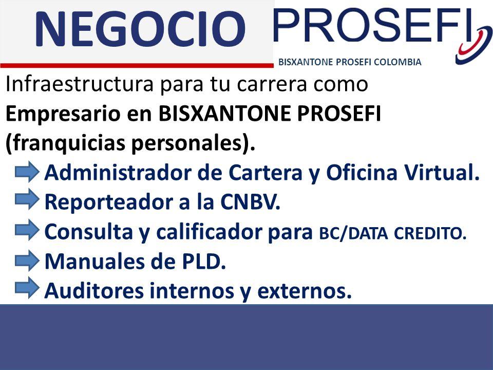 NEGOCIO BISXANTONE PROSEFI COLOMBIA. Infraestructura para tu carrera como Empresario en BISXANTONE PROSEFI (franquicias personales).