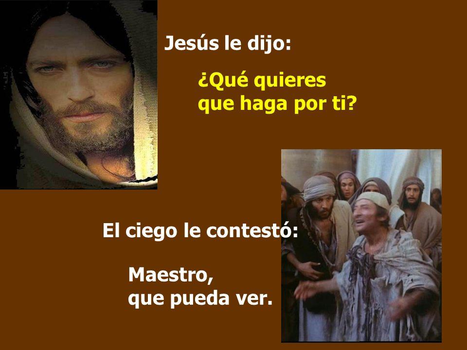 Jesús le dijo: ¿Qué quieres que haga por ti El ciego le contestó: Maestro, que pueda ver.