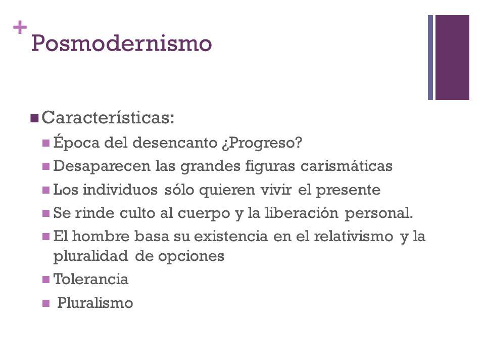 Posmodernismo Características: Época del desencanto ¿Progreso