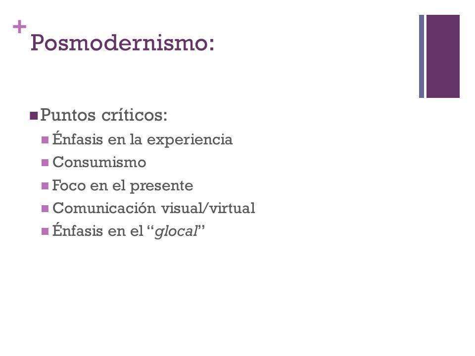 Posmodernismo: Puntos críticos: Énfasis en la experiencia Consumismo