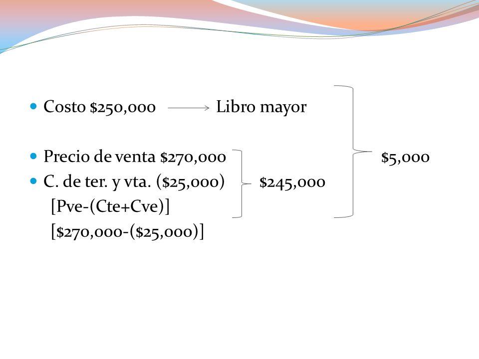 Costo $250,000 Libro mayor Precio de venta $270,000 $5,000.
