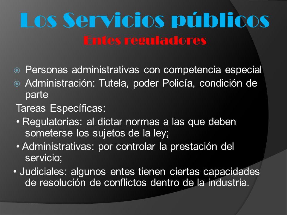 Los Servicios públicos Entes reguladores