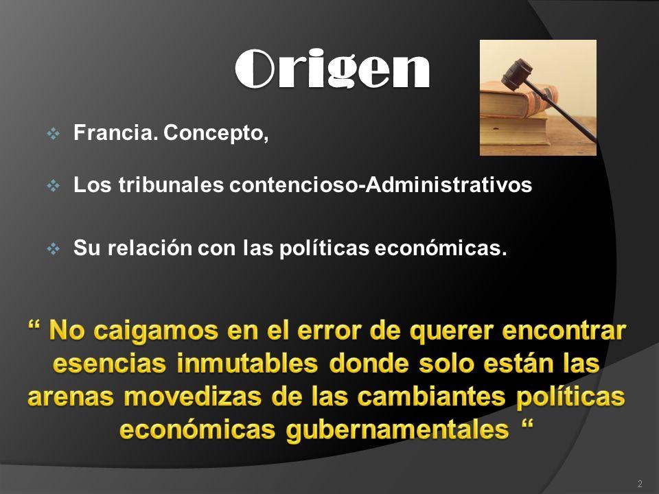 Origen Francia. Concepto, Los tribunales contencioso-Administrativos. Su relación con las políticas económicas.