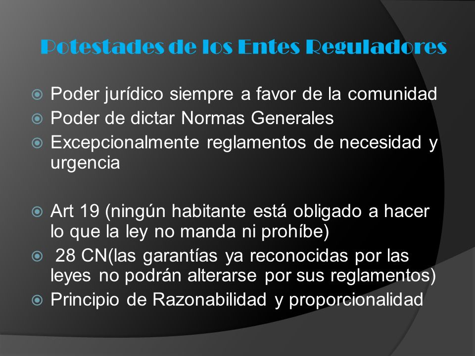 Potestades de los Entes Reguladores