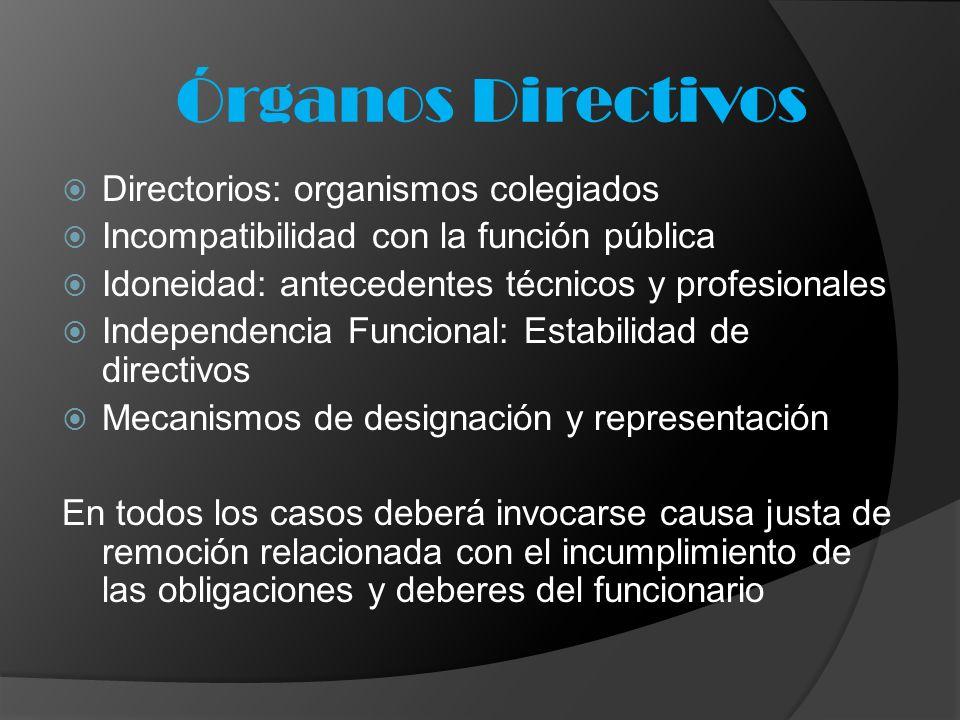 Órganos Directivos Directorios: organismos colegiados