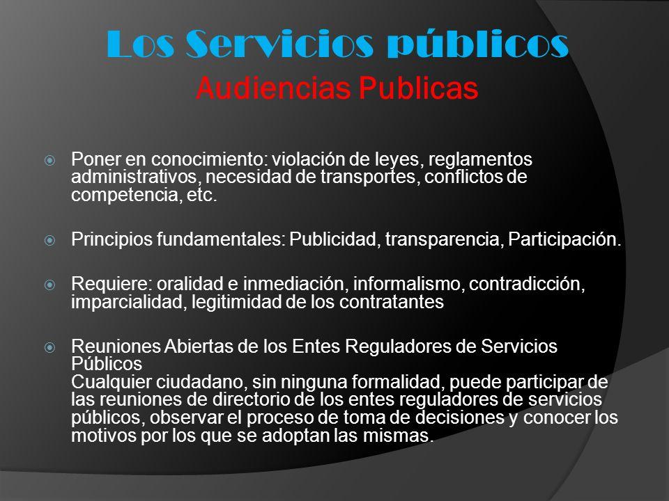 Los Servicios públicos Audiencias Publicas