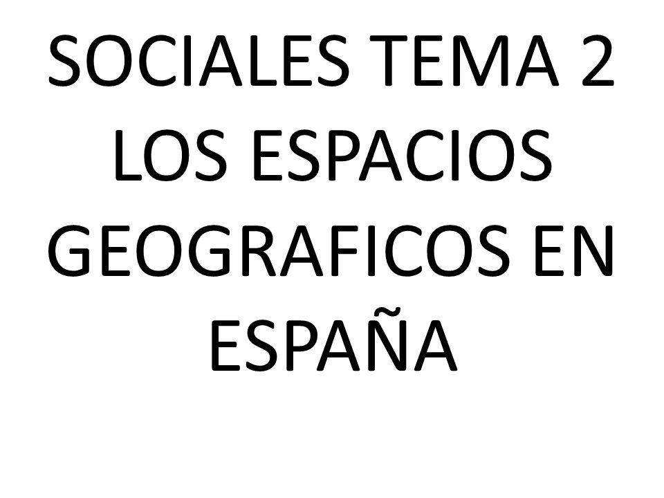 SOCIALES TEMA 2 LOS ESPACIOS GEOGRAFICOS EN ESPAÑA