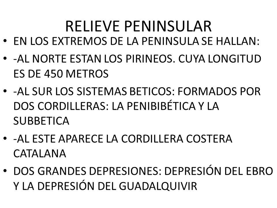 RELIEVE PENINSULAR EN LOS EXTREMOS DE LA PENINSULA SE HALLAN:
