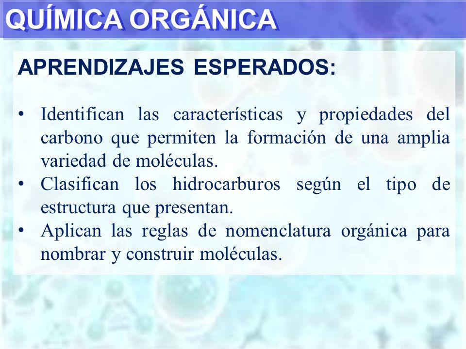 QUÍMICA ORGÁNICA APRENDIZAJES ESPERADOS: