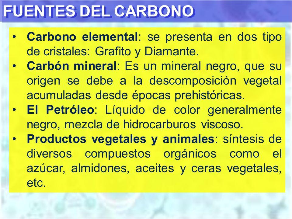 FUENTES DEL CARBONO Carbono elemental: se presenta en dos tipo de cristales: Grafito y Diamante.