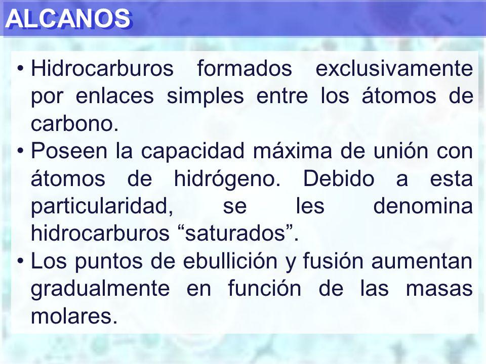 ALCANOS Hidrocarburos formados exclusivamente por enlaces simples entre los átomos de carbono.