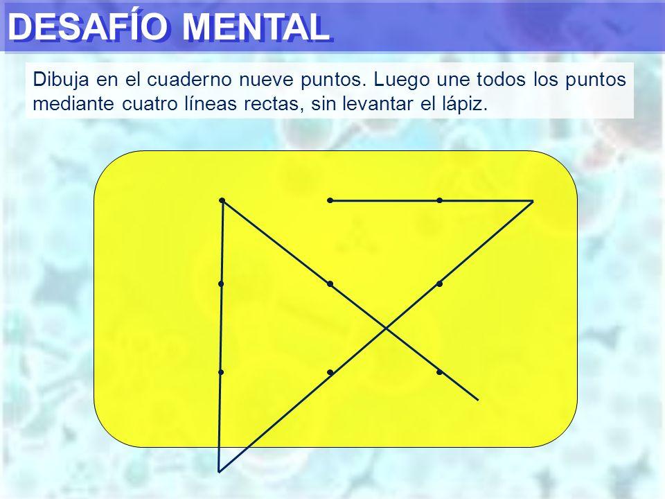 DESAFÍO MENTAL Dibuja en el cuaderno nueve puntos.