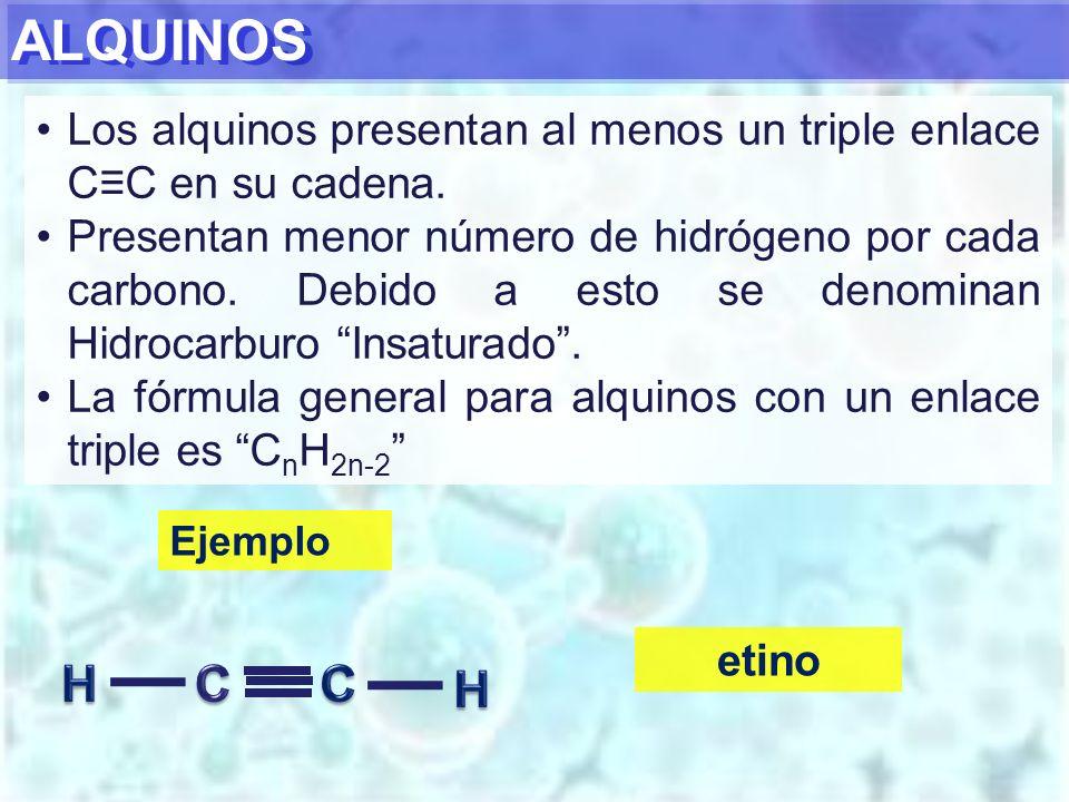 ALQUINOS Los alquinos presentan al menos un triple enlace C≡C en su cadena.