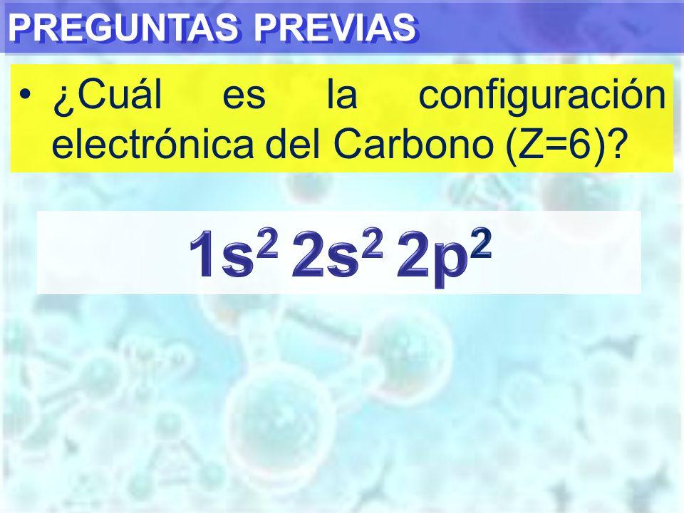 1s2 2s2 2p2 ¿Cuál es la configuración electrónica del Carbono (Z=6)