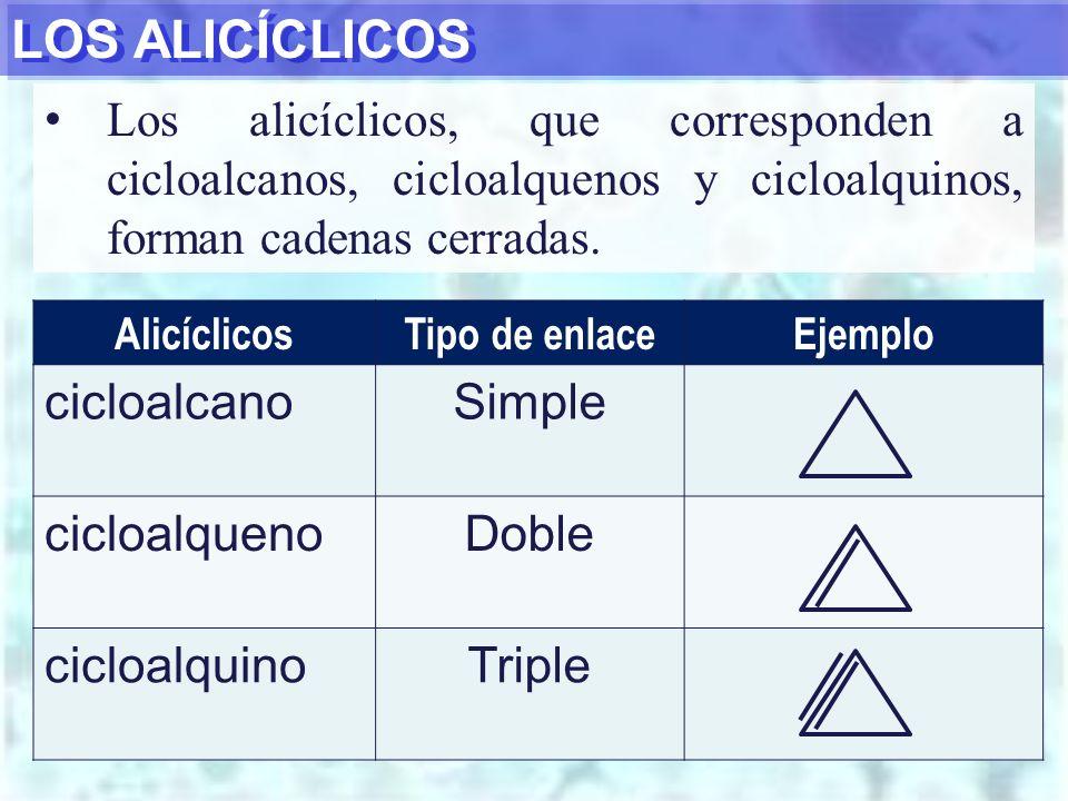 LOS ALICÍCLICOS cicloalcano Simple cicloalqueno Doble cicloalquino