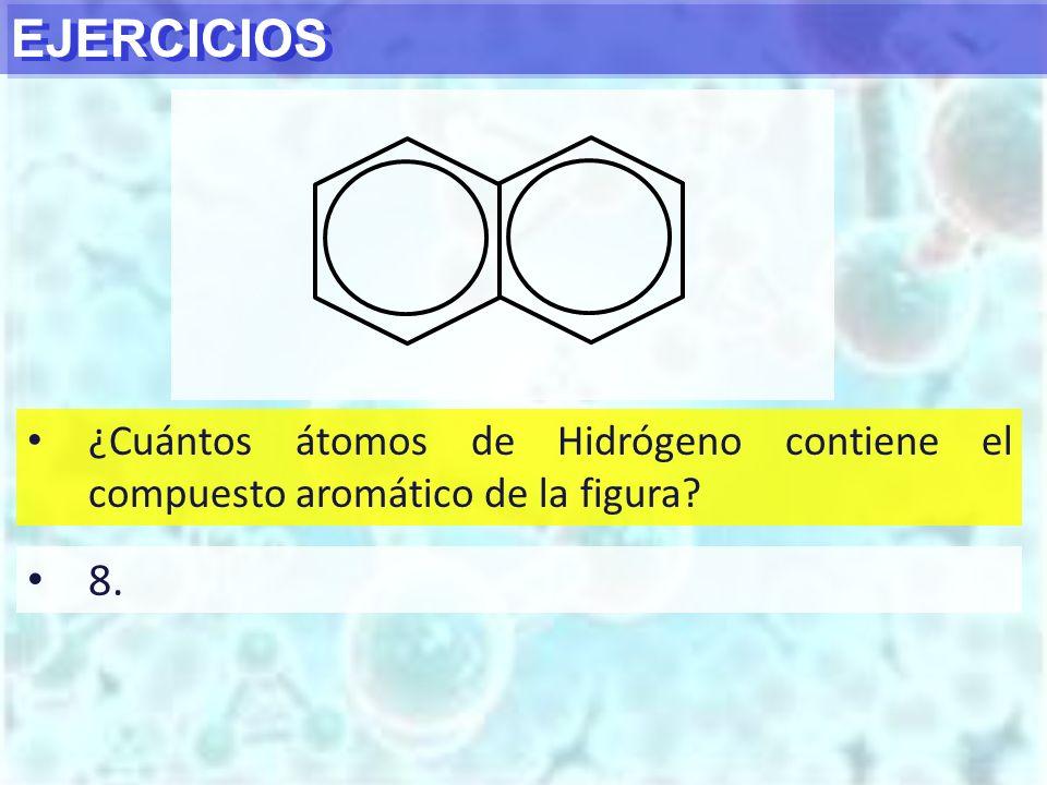 EJERCICIOS ¿Cuántos átomos de Hidrógeno contiene el compuesto aromático de la figura 8.