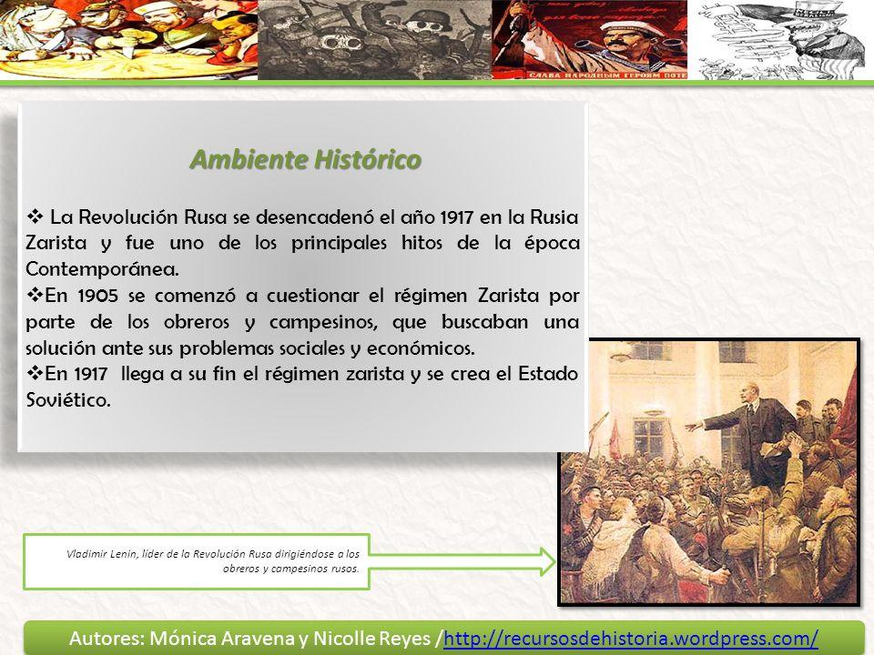 Ambiente HistóricoLa Revolución Rusa se desencadenó el año 1917 en la Rusia Zarista y fue uno de los principales hitos de la época Contemporánea.