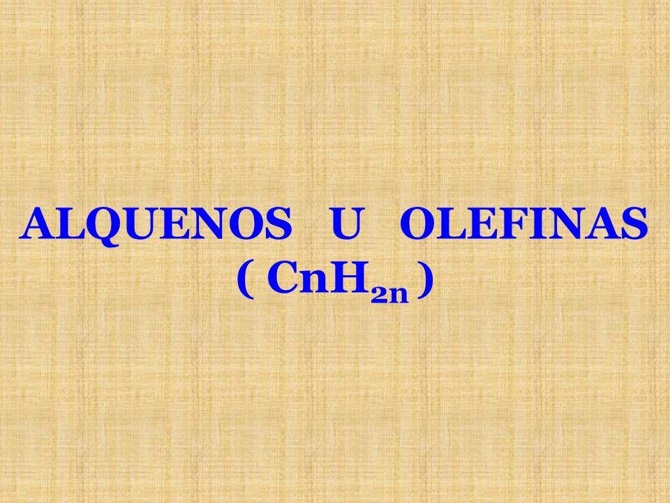 ALQUENOS U OLEFINAS ( CnH2n )