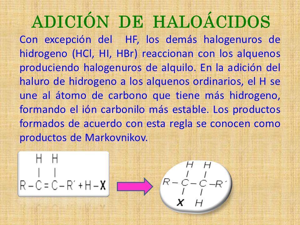 ADICIÓN DE HALOÁCIDOS