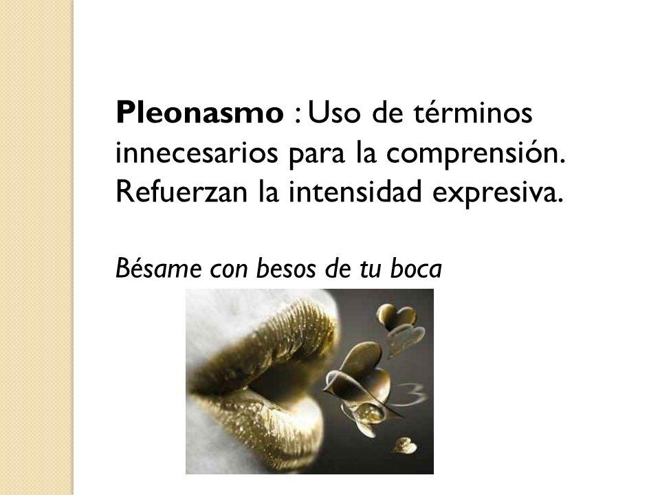 Pleonasmo : Uso de términos innecesarios para la comprensión